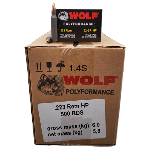 223 Rem - Wolf 62 Grain Hollow Point 500 Rd. Case