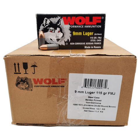 9mm - Wolf Performance 115 GR. FMJ 1000 rd. Steel Case