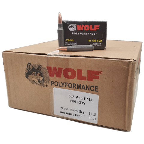 308 Win - Wolf Polyformance 145 Grain FMJ Steel Case Bulk