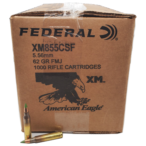 5.56 Nato - Federal XM855 62 Grain FMJ Green Tip Case