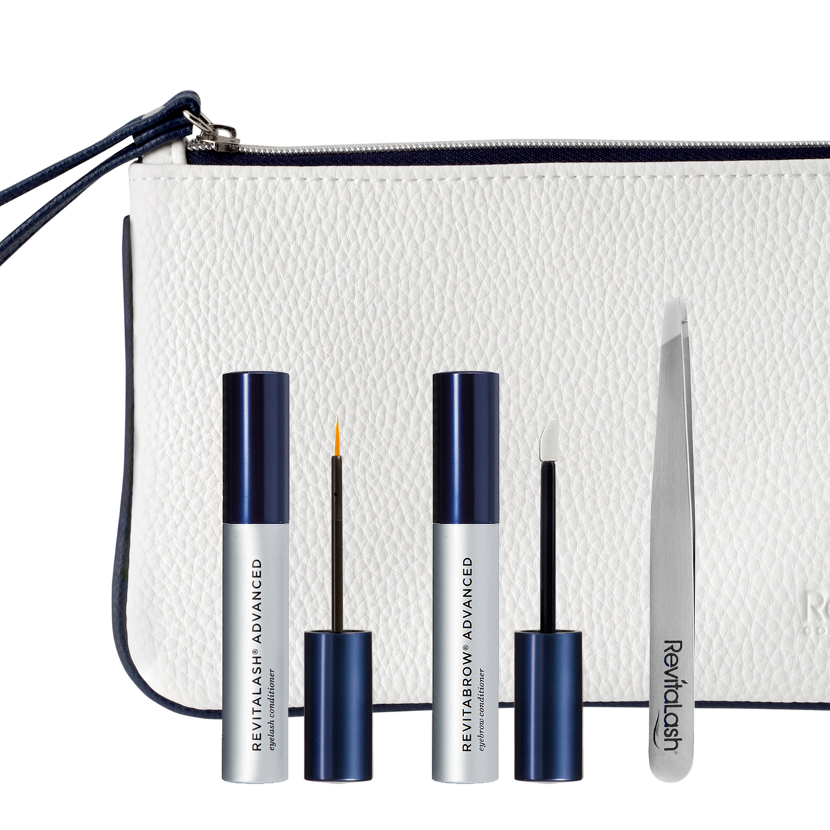 Image of RevitaLash Advanced 1 mL, RevitaBrow Advanced 1.5 mL, Tweezers and white cosmetic bag