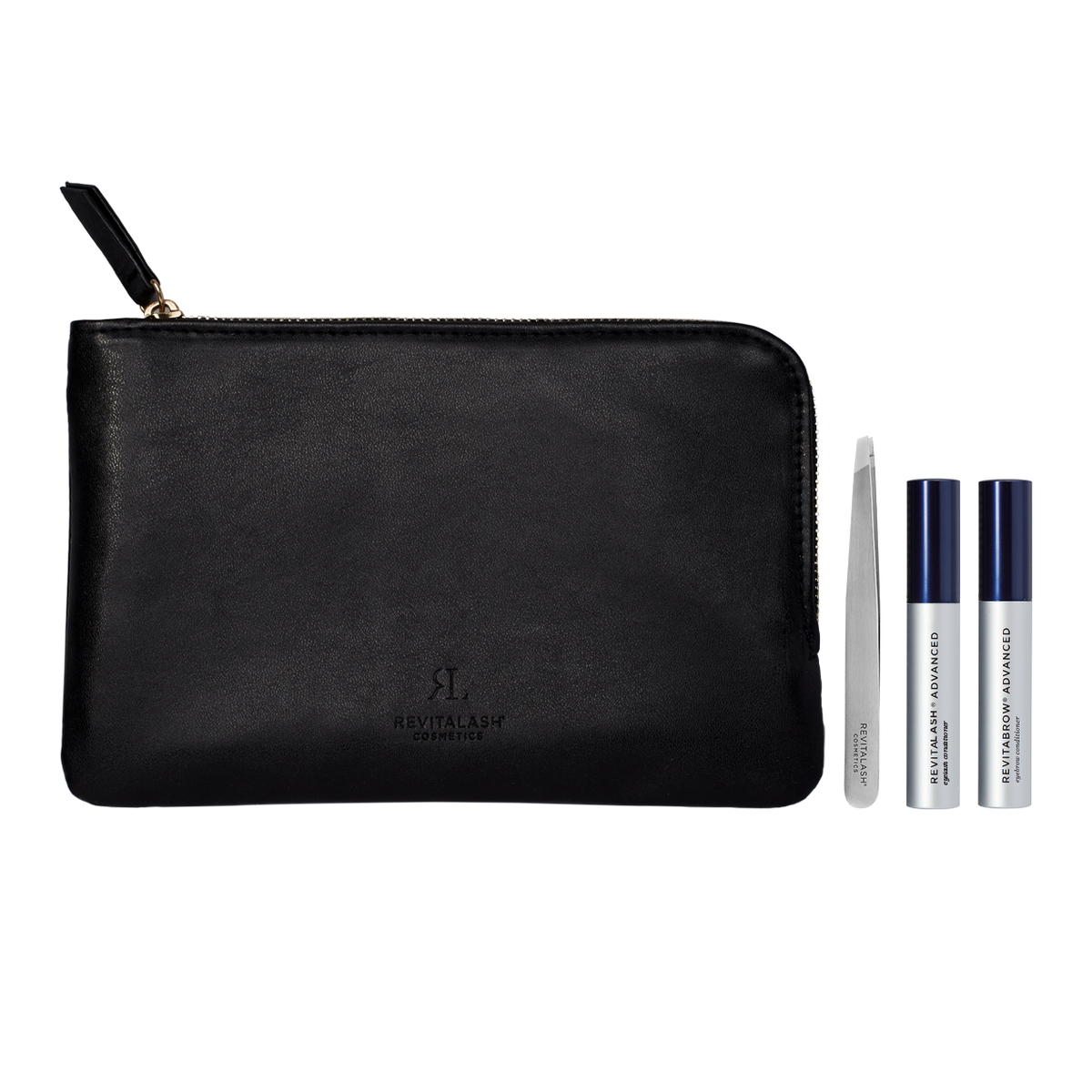 Image of Lash and Brow Trial Kit which includes a black vegan leather cosmetic bag, RevitaLash Advanced, RevitaBrow Advanced, and precision tweezers