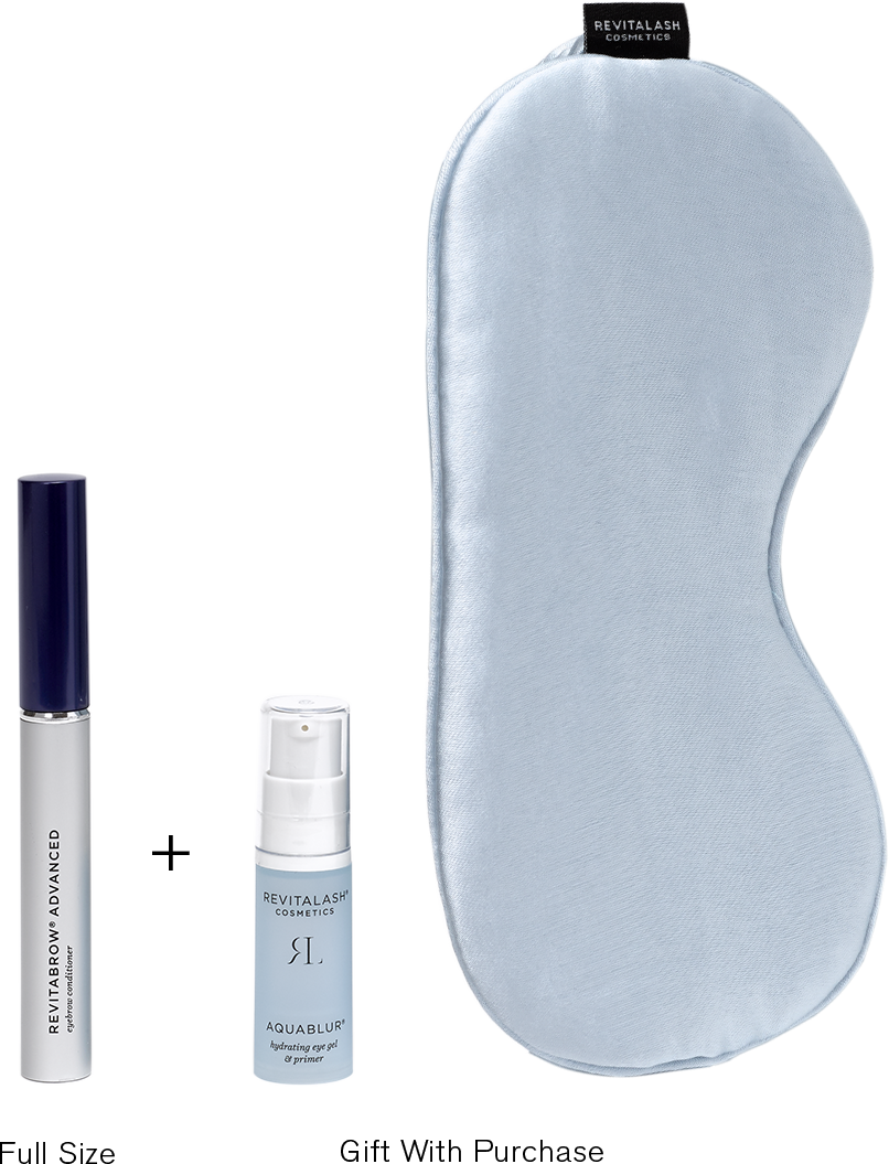 Image of full sized RevitaBrow Advanced and free gift with purchase (mini AquaBlur and satin sleep mask)