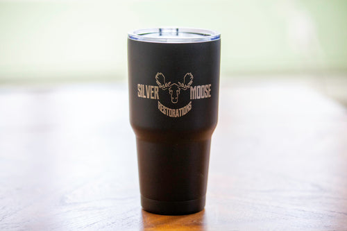 32oz Silver Moose Insulated Tumbler
