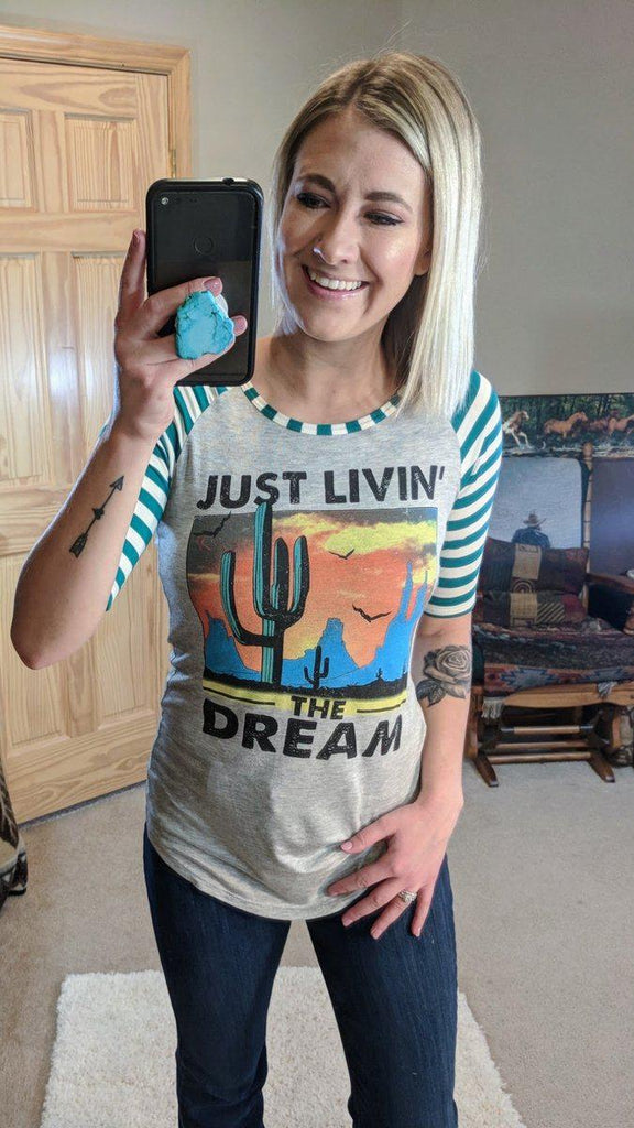 Just Livin the Dream Half Sleeve Tee-Small-Kinlee Rose