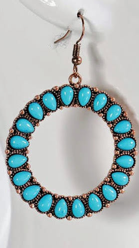 Drop Hoop Turquoise Earrings