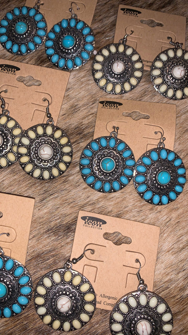 Bohemian Turquoise Flower Earrings