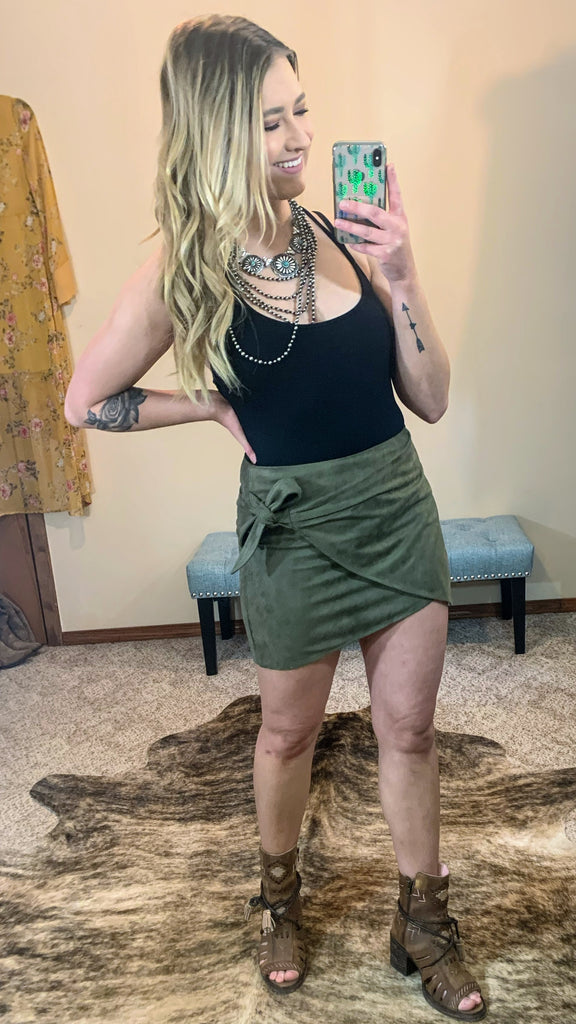 Sedona Olive Suede Mini Skirt