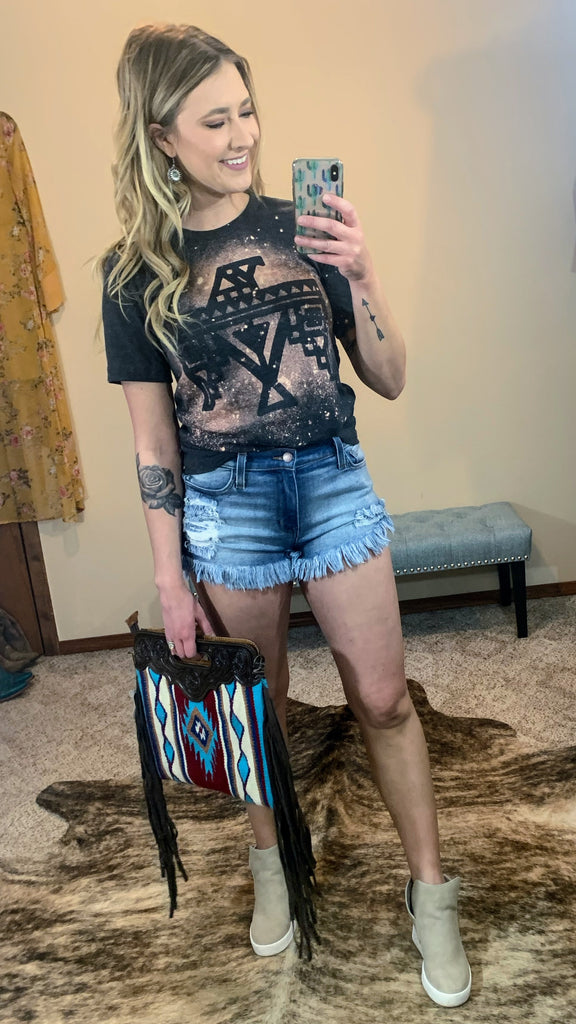 Roxi Fray Hem Denim Shorts