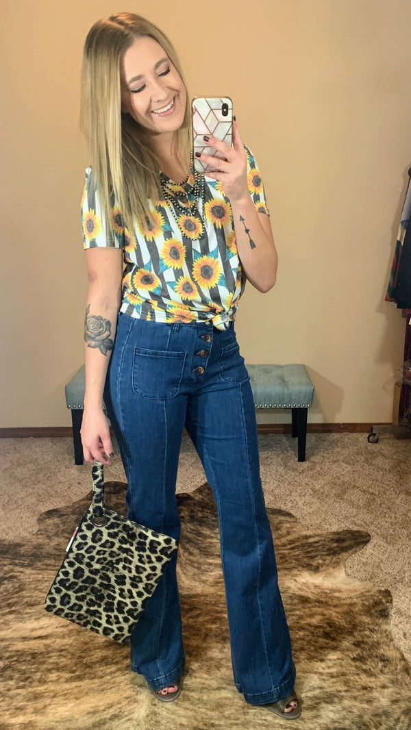 Lola High Rise Button Down Flares