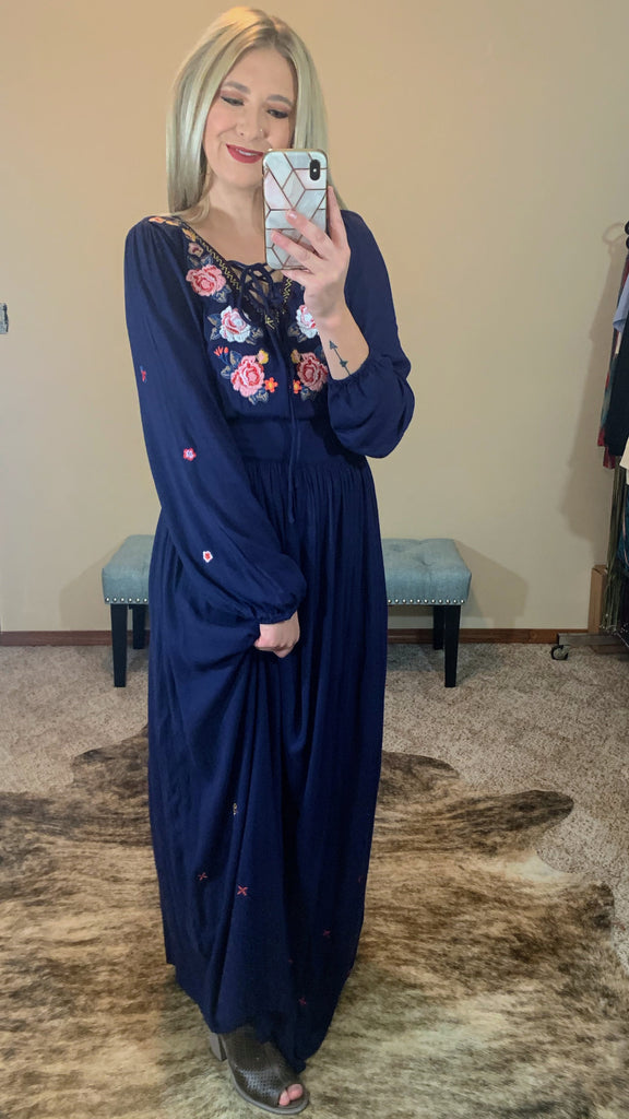 Athena Embroidered Maxi Dress
