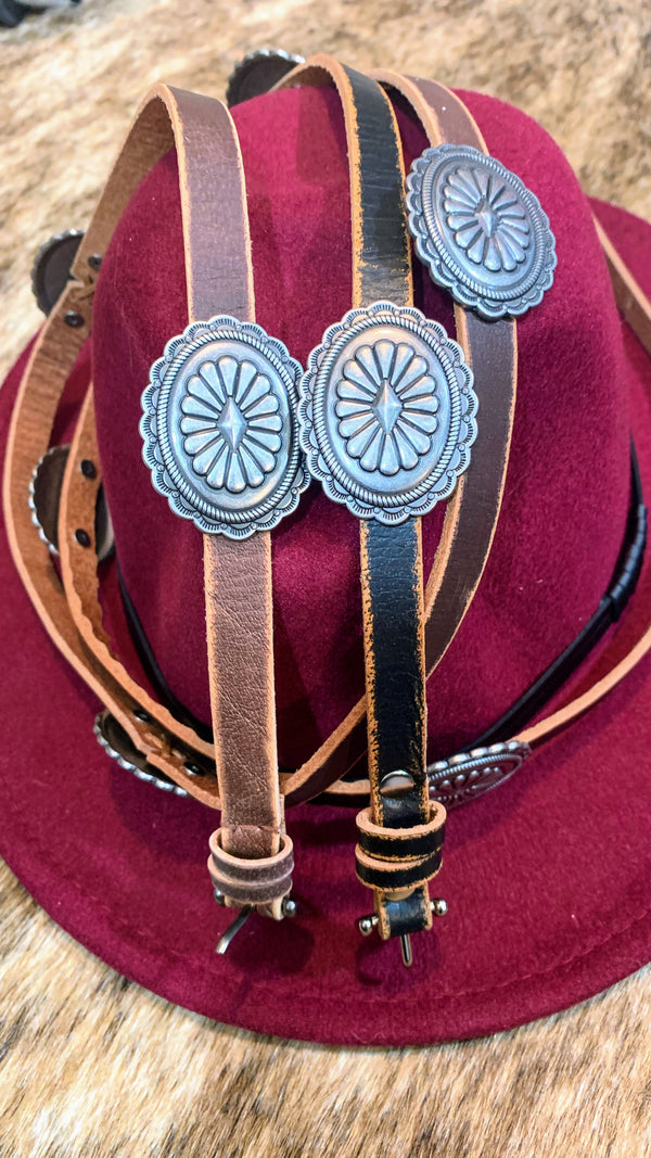 Western Concho Leather Belt
