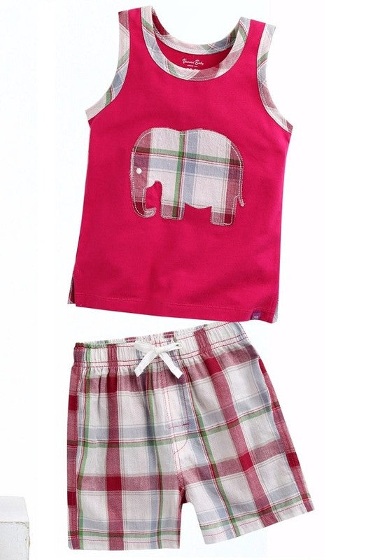 Sleeveless Elephant Top & Shorts Set