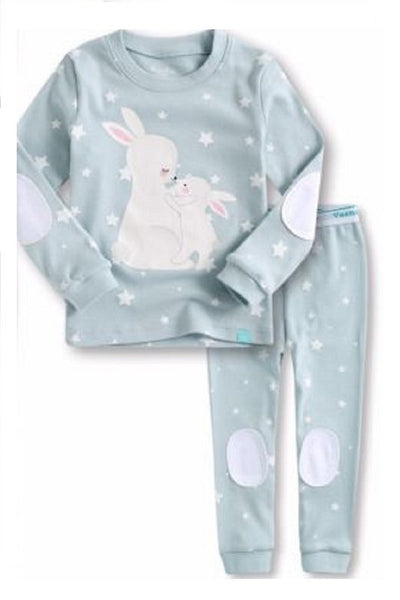 Rabbit Elbow Patch Long Sleeve Pajama Set