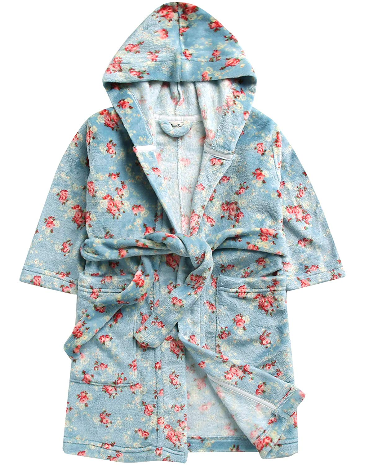 Flower Blue Hooded Robe