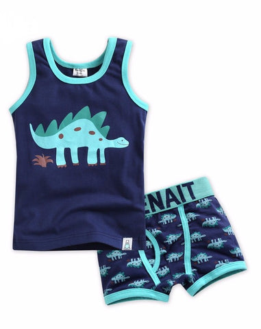 Blue Dino Under Shirt & Boxer Set