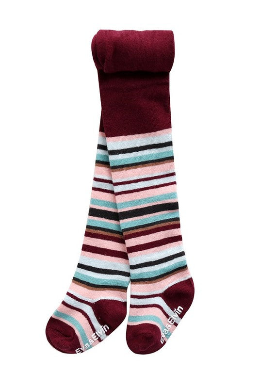 Cherry Stripe Footed Tights