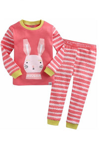 Bunny Stripe Long Sleeve Pajama Set