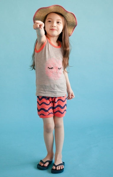 Pink Wave Sleeveless Pajama Set