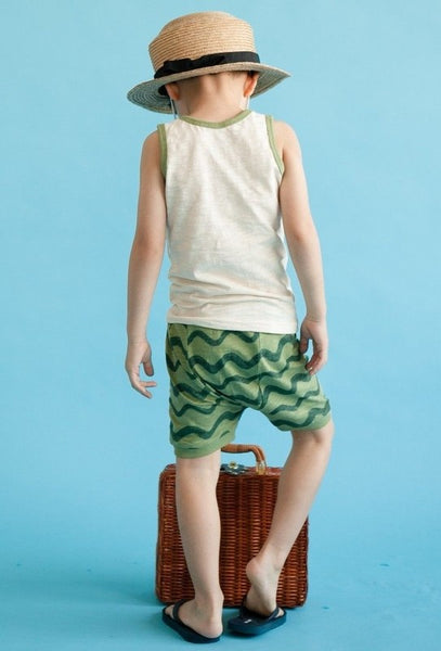 Green Wave Sleeveless Pajama Set