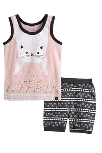 Cat Sleeveless Pajama Set