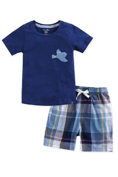 Bird Tee & Pattern Shorts Set