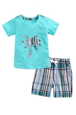 Palmtree Tee & Pattern Shorts Set