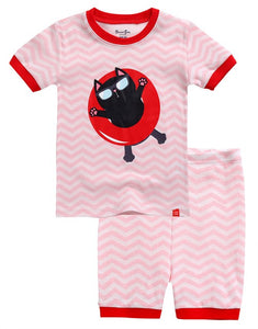 Floaty Kitty Short Sleeve Pajama Set