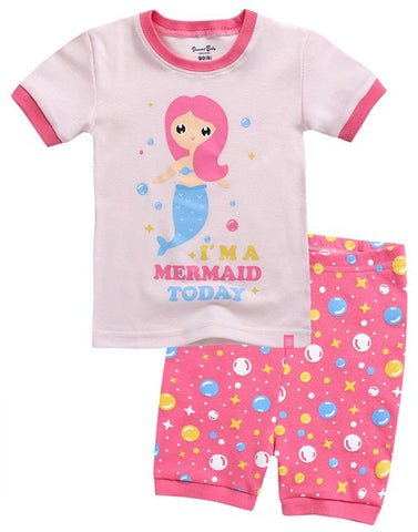 Pink Mermaid Short Sleeve Pajama Set