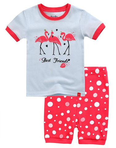 Three Flamingo's Short Sleeve Pajama Set