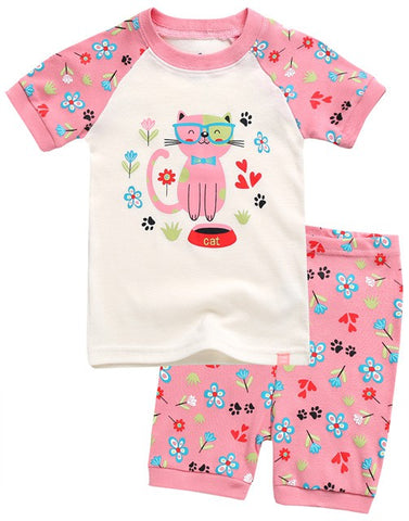 Flower Cat Short Sleeve Pajama Set