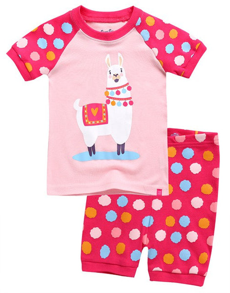 Polka Dot Llama Short Sleeve Pajama Set