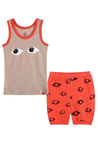 Orange Eyes Sleeveless Pajama Set