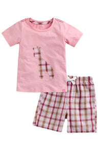 Giraffe Tee & Pattern Shorts Set