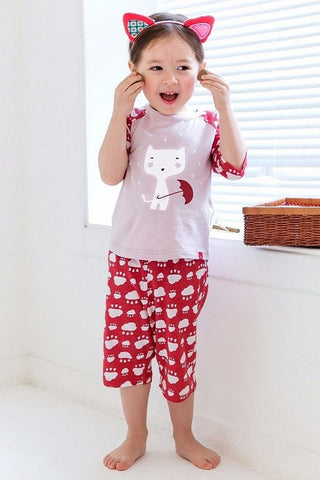 Rainy Cat Short Sleeve Pajama Set