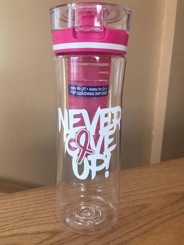 Never Give Up Cancer Ribbon Decal