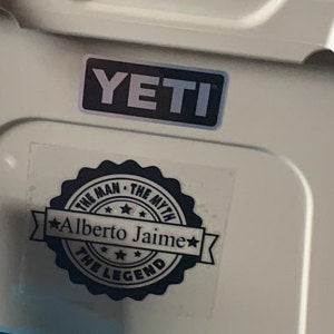 The Man The Myth The Legend Yeti Cooler Decal