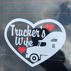 Trucker's Wife Heart Decal