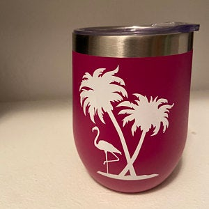 Flamingo and Palm Trees Tumbler Decal