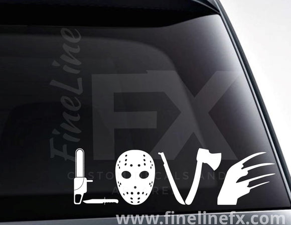 Love Horror Movies Vinyl Decal Sticker - FineLineFX