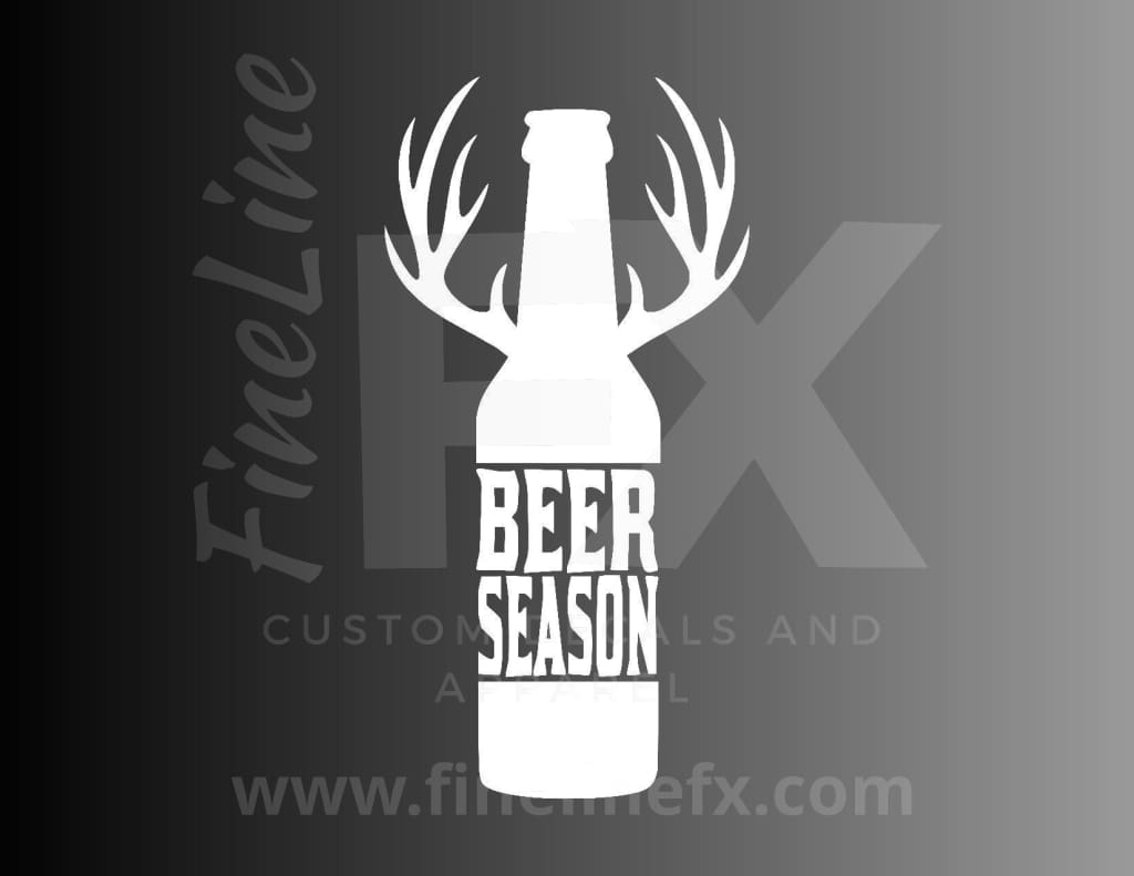 Beer Season Beer Bottle With Deer Antlers Vinyl Decal Sticker