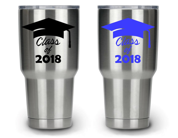 Class Of 2018 Graduation Cap Vinyl Decal Sticker - FineLineFX