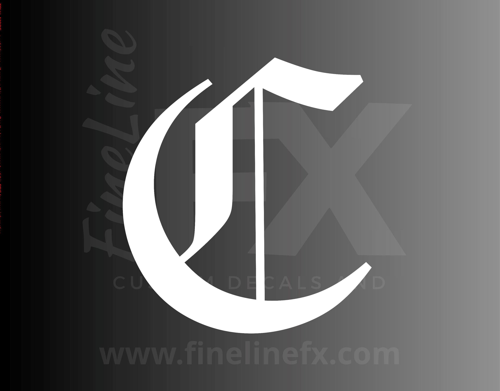 Old English Letter C Vinyl Decal Sticker