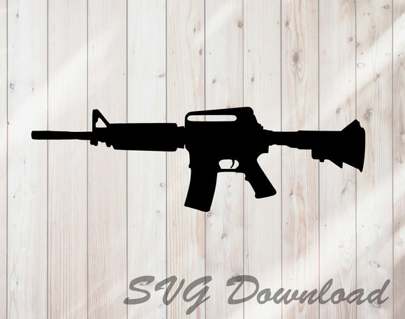 AR15 Semi Automatic Rifle SVG Craft Cutting File Instant Download - FineLineFX