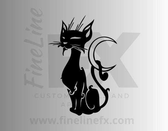 Black Cat And Moon Vinyl Decal Sticker - FineLineFX