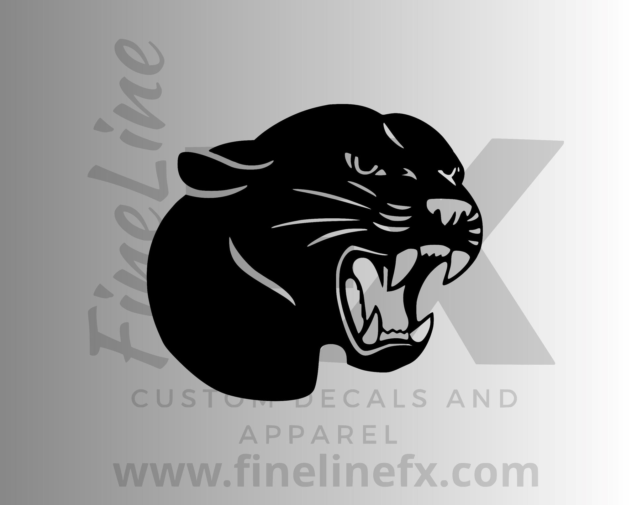 Black Growling Panther Vinyl Decal Sticker
