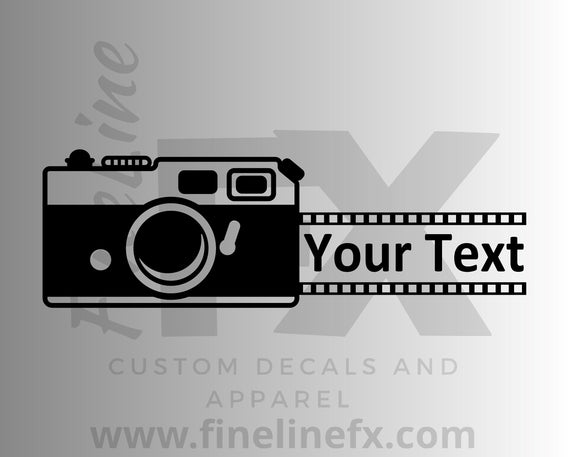 Vintage Camera And Film With Your Custom Text Vinyl Decal Sticker - FineLineFX
