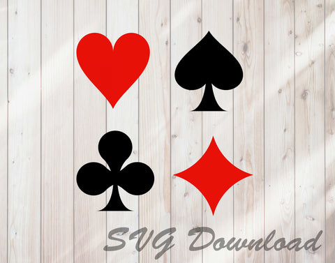 Playing Card Suits SVG Craft Cutting File Instant Download