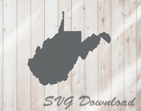 West Virginia Map State Shape SVG Craft Cutting File Download