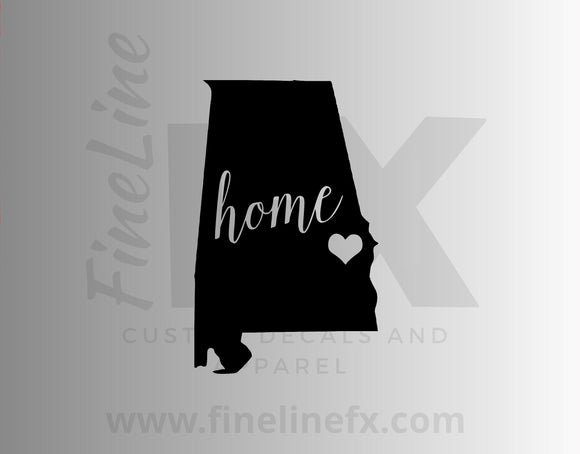 Alabama Home State Vinyl Decal Sticker - FineLineFX